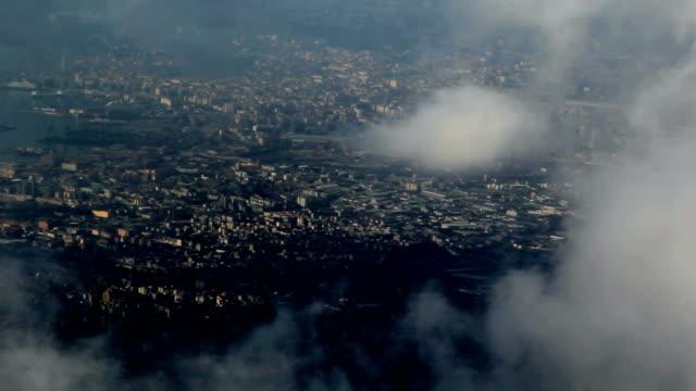 City views through the clouds. bird's-eye video