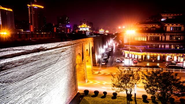 city wall at night video