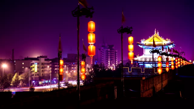 city wall of xi'an at night video