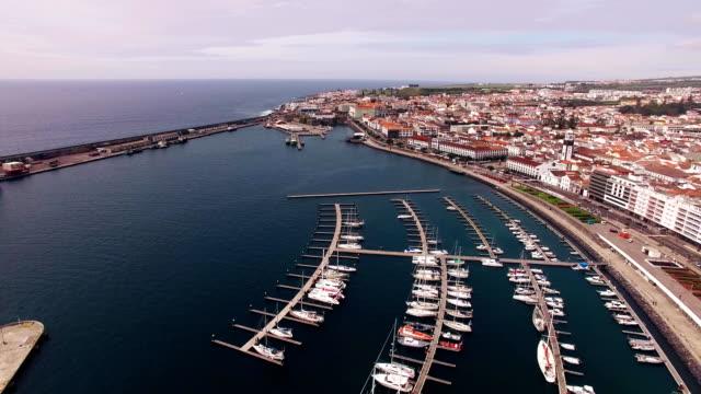 City with harbor at Ponta Delgada, capital city of the Azores at Sao Miguel Island video