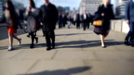 City workers going home over London Bridge video