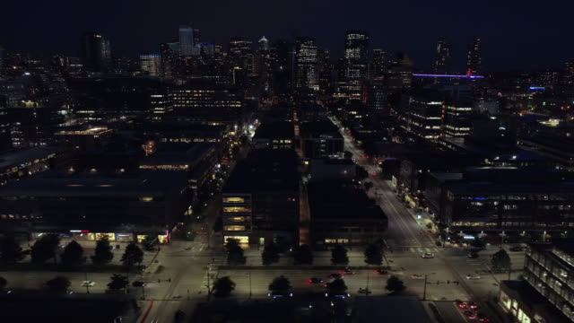Cityscape Aerial Dolly on Dark Night with City Lights of Downtown Buildings video