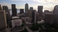 Cityscape Aerial Shot of Seattle Financial District with Skyscraper Buildings and Ocean Background video