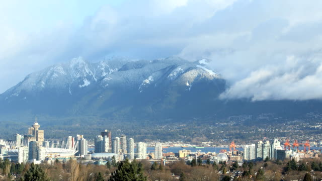 Cityscape and Grouse Mountain, Vancouver Timelapse video