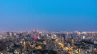 cityscape and skyline of downtown near tokyo tower in cloud sky. video