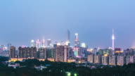cityscape and skyline of guangzhou at sunset. timelapse video