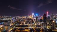 cityscape and skyline of kuala lumpur at night. time lapse video