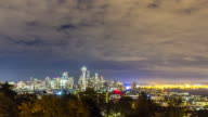 cityscape and skyline of seattle at dawn. timelapse 4k video