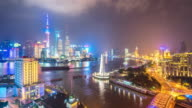 cityscape and skyline of shanghai at night. timelapse 4k video