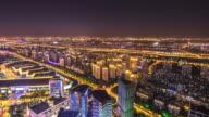 cityscape and skyline of suzhou new city at night. timelapse 4k hyperlapse video
