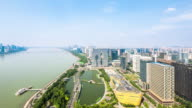 cityscape and skyline of towndown of hangzhou binjiang new city. video