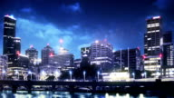 Cityscape night. Time-lapse video