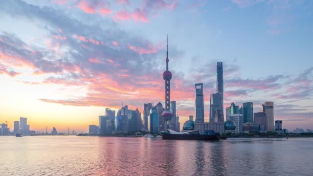 cityscape of modern city with sunrise in shanghai,timelapse,4K video