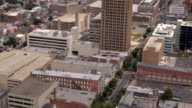 AERIAL: Cityscape of New York apartment buildings and residential towers video
