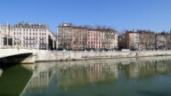 Cityscape of old Lyon as seen from across the Rhone video