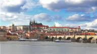 Cityscape of Prague with Charles bridge video