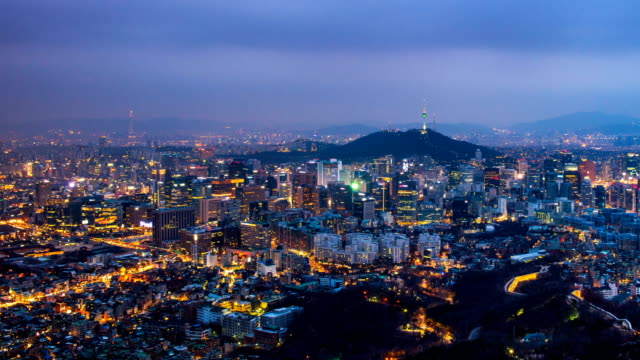 Cityscape of Seoul and seoul tower at night, South Korea. video
