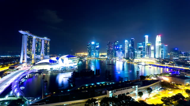 cityscape of singapore,time lapse video