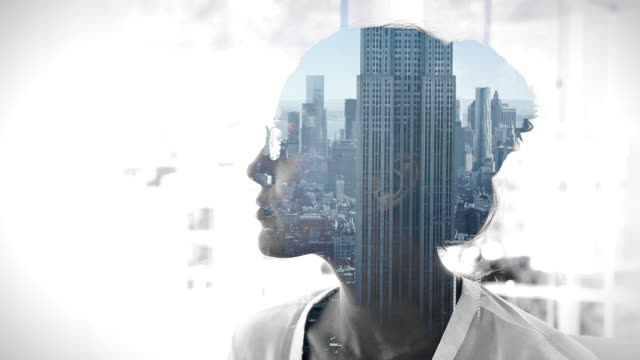 Cityscape overlay on thinking businesswoman video