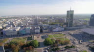 Cityscape pan in Warsaw video