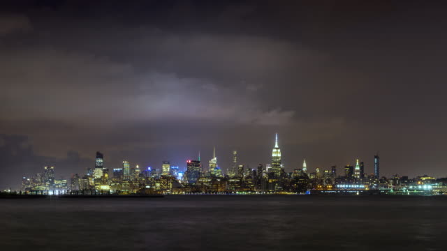 Cityscape time lapse of a summer evening storm and lightning in New York City video