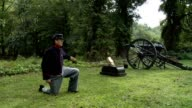 Civil War cannon fires with big cloud of smoke video