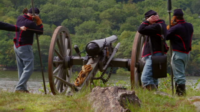 Civil War Cannon Firing with a cloud of smoke video
