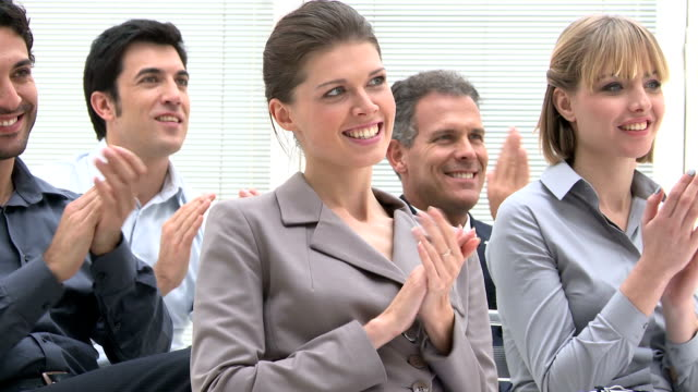 Clapping hands at meeting video