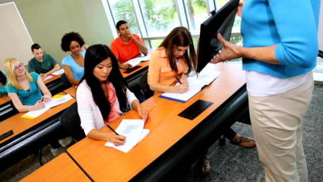 Class Multi Ethnic Students Modern Campus Classroom video
