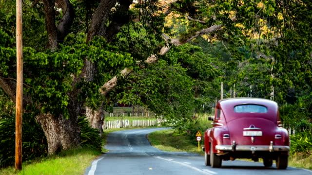 Classic Car driving on rural Cuban road video
