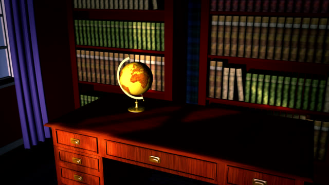 Classic library with old globe video