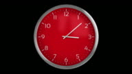 Classic wall clock. 1 frame per minute. Loopable. Red. video
