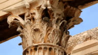 Classical Greek architecture detail, sophisticated moulding on column capital video