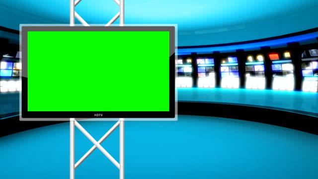Clean, futuristic news room green screen background Loop video