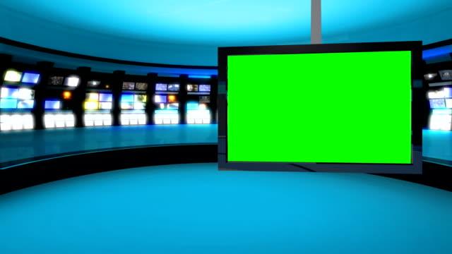 Clean, futuristic news room green screen background video