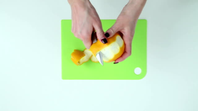 Clean orange peel on the table video