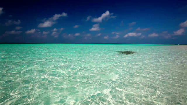 Clean turquise lagoon on a tropical island with waves video