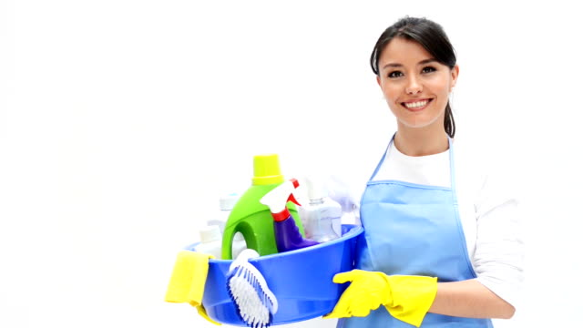 Cleaner holding cleaning products video