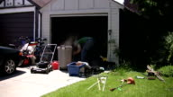 Cleaning the garage. Timelapse. video