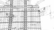 Clear Architectural and constructional schemes spin, looped background video