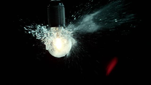 SLO MO clear lit light bulb exploding video