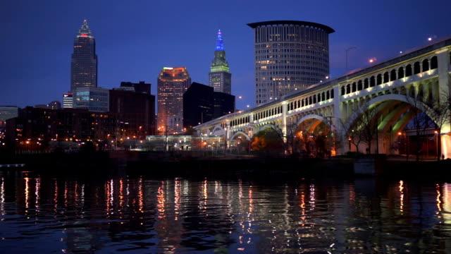 Cleveland Ohio Downtown City Skyline Cuyahoga River Superior Ave Bridge video