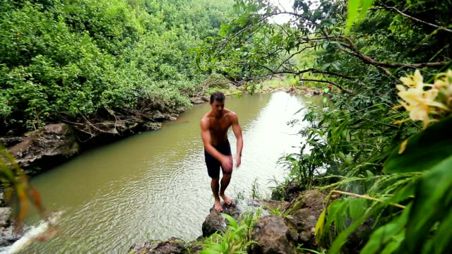 Cliff Jumping Backflip Bamboo Forest Waterfall video