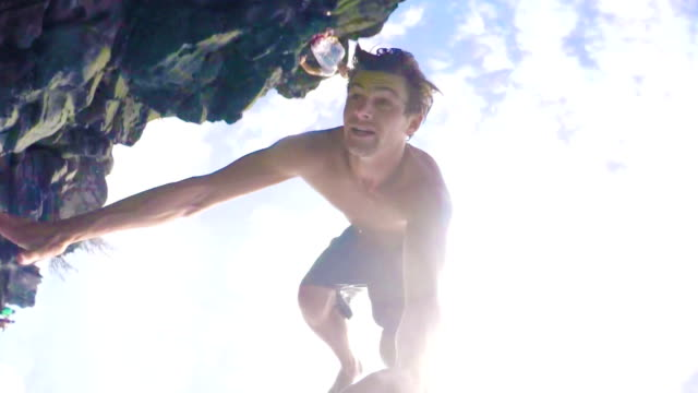 POV Cliff Jumping Backflip in HD Slow Motion. video