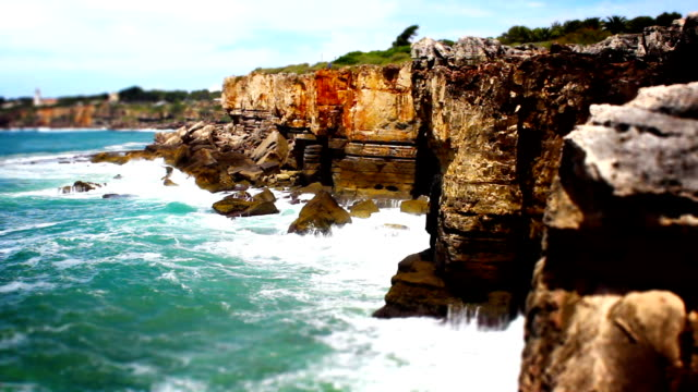 Cliff Waves and Ocean, Tile Shift,  Cascais, Portugal video