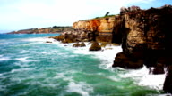 Cliff Waves and Ocean, Tile Shift, Time Lapse, Cascais, Portugal video
