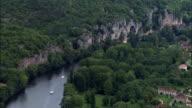 Cliffs Along the Banks Of Lot River  - Aerial View - Midi-Pyrénées, Lot, Arrondissement de Cahors, France video