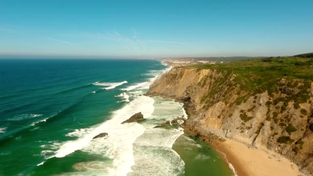 Cliffs and beaches of the western coast of Portugal aerial video