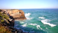 Cliffs and sea in Ribadeo, Spain video