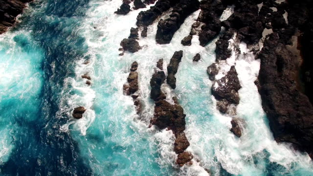 Cliffs near Porto Moniz Madeira aerial view video